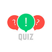 quiz button with speech bubble. concept of faq, dialog, interview, competition, quiz show, quizzes, vote. isolated on white background. flat style trend modern quiz design vector illustration