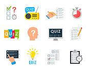 Quiz game icon. Test of knowledge, competition between individuals or teams, entertainment, erudition show. Vector flat style cartoon illustration isolated on white background