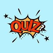 Quiz in comic style. Quiz brainy game vector design.
