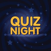 Quiz Night neon light sign in retro twist background with stars. Poster template vector illustration.