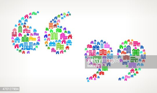 Quotation Marks On House And Real Estate Icon Pattern Vector Art