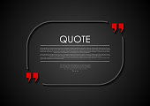 Quote blank dark flat abstract design. Vector illustration