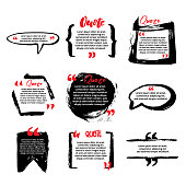 Quote blanks with text bubble with Commas. Vector Set of templates for note, message, comment. Hand Drawn with brush Dialog box.