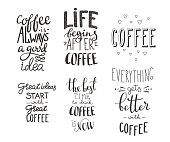 Quote coffee typography set. Calligraphy style coffee quote. Coffee shop promotion motivation. Graphic design lifestyle lettering. Sketch coffee mug inspiration vector type Coffee lovers life shopping