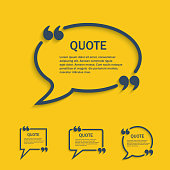 Quote line speech bubbles with commas set, vector template