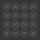 Quote marks outline circle vector icons set isolated on black background. Double commas for quotation. Thin line style quotation icons collection