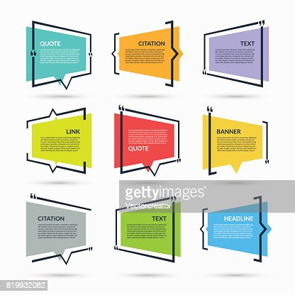 Zitat der Sprechblase, leere Vorlage, Text in Klammern, Zitat leeren Rahmen, Zitat Box isoliert auf weißem Hintergrund : Vektorgrafik