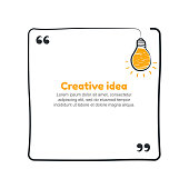 Quote with hand drawn sketch bulb. Vector creative idea concept.
