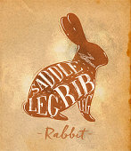 Poster rabbit cutting scheme lettering saddle, leg, rib in retro style drawing on craft paper background