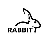 Farm rabbit icon concept with profile of black bunny line symbol isolated on white background. Vector illustration.