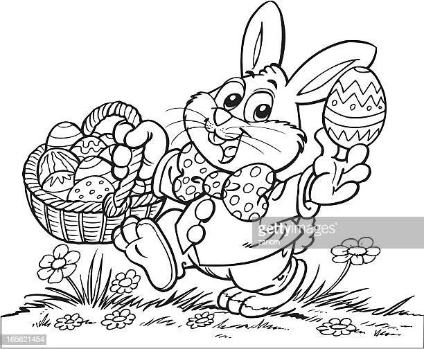 Rabbit with basket and eggs