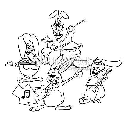 Conejos Rock Banda De Músicos Para Colorear Libro Arte vectorial ...