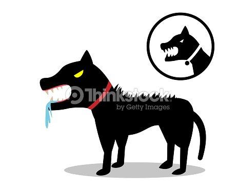 Tollwütiger Hund In Flachen Stil Und Symbol Vektor Vektorgrafik