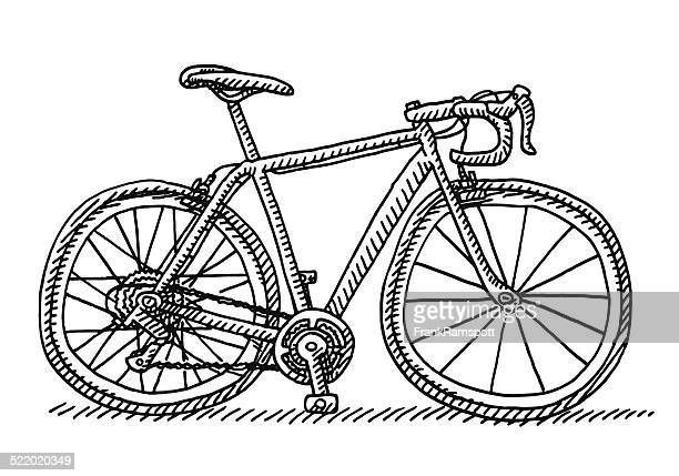 Racing Bicycle Side View Drawing