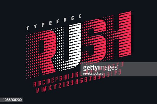 Racing display font design, alphabet, letters and numbers : stock vector