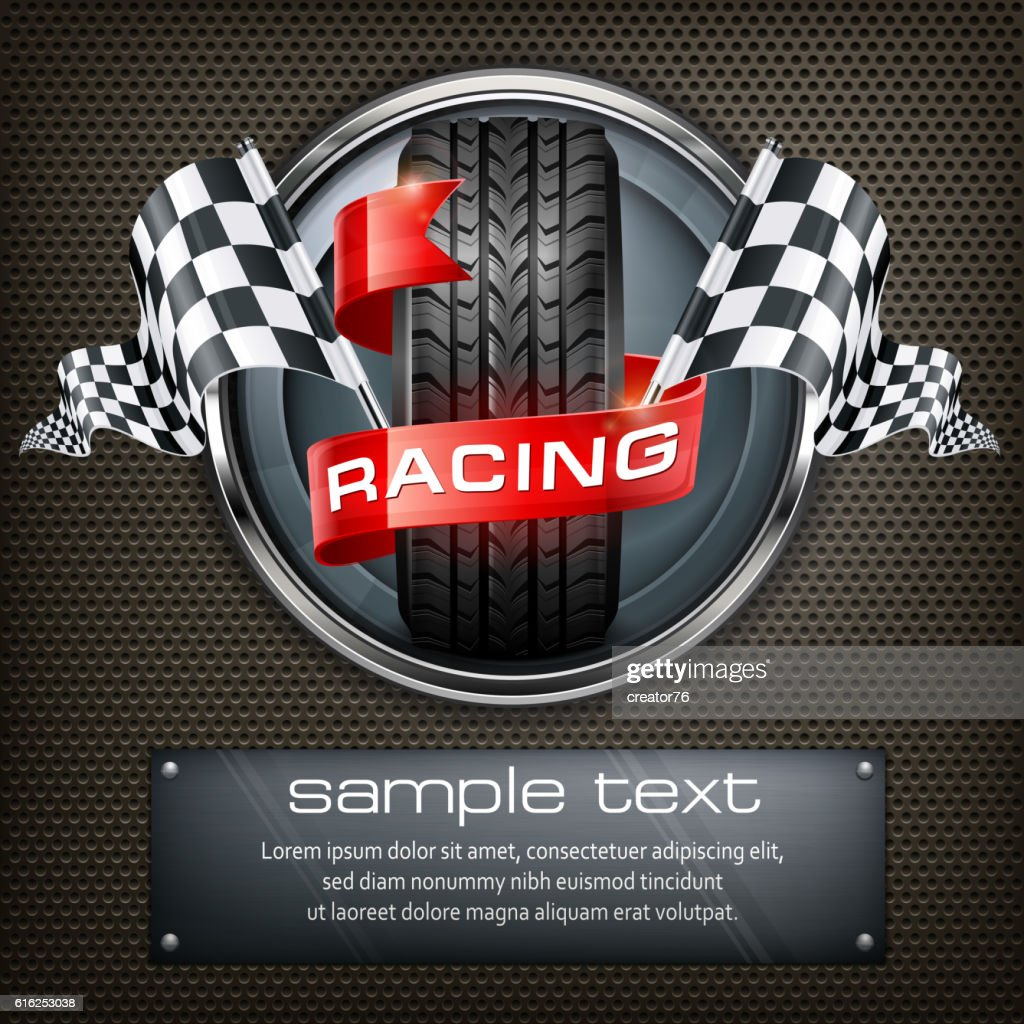 Racing emblem on black : Arte vectorial