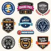 Set of car racing emblems and championship badges.