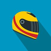 Racing helmet flat icon. Yellow and red helmet on a blue background
