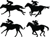Editable vector silhouettes of racing horses with horses and jockeys as separate objects