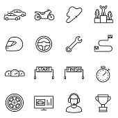 Racing, set icons. Automobile and motorcycle competitions. High-speed races. Line with editable stroke