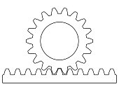Illustration of the rack pinion gear transmission
