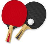 Two rackets for playing table tennis. Illustration on white background. Contains transparent objects used for shadows drawing. EPS10