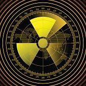 Radar screen with radioactive sign. Vector illustration.