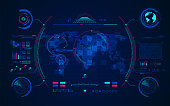 terrain world map with digital radar interface, concept of communication technology