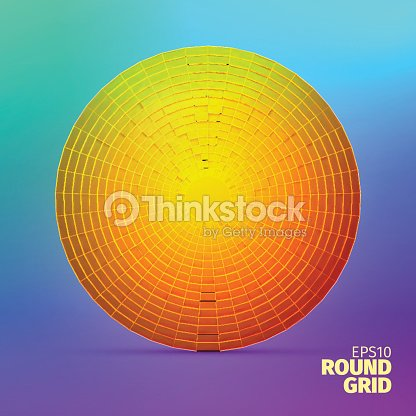 Radial Vector Ornament Angular Grid Of 3d Boxes Circle Element