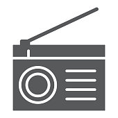 Radio glyph icon, fm and sound, communication sign, vector graphics, a solid pattern on a white background, eps 10.