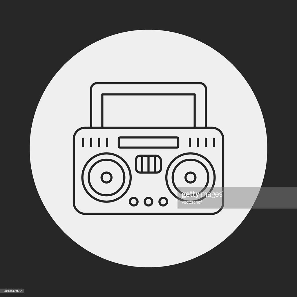 Ícone de linha de rádio : Arte vetorial