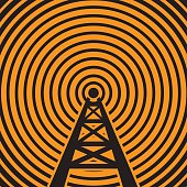 Radio tower broadcast sign or symbol. vector illustration