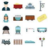 Railroad flat icons set isolated on white background