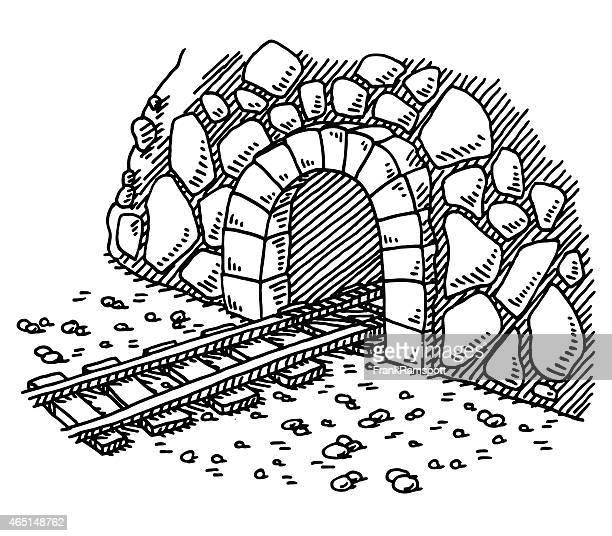 Entrada al túnel de tren de dibujo