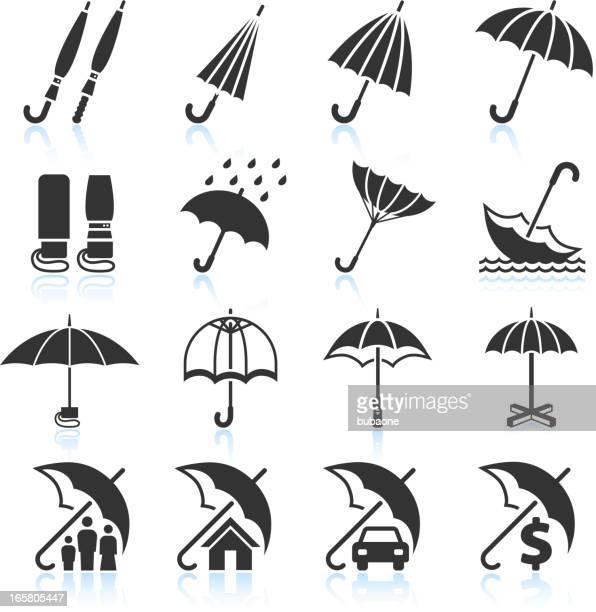 Paraguas protección contra la lluvia y seguros conjunto de iconos vectoriales sin royalties