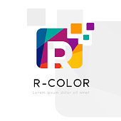 Rainbow abstract logo with R letter silhouette. Vector symbol with character element.