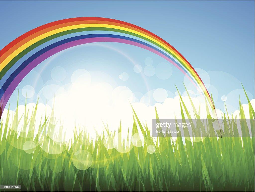 Rainbow and green grass over blue sky : Vector Art
