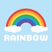 Rainbow and white clouds on a blue background. Vector illustration in flat style