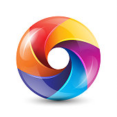 3D rainbow circle colorful  with glossy blades vector illustration