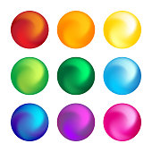 Rainbow color ball threedimensional set design element. Vector illustration.