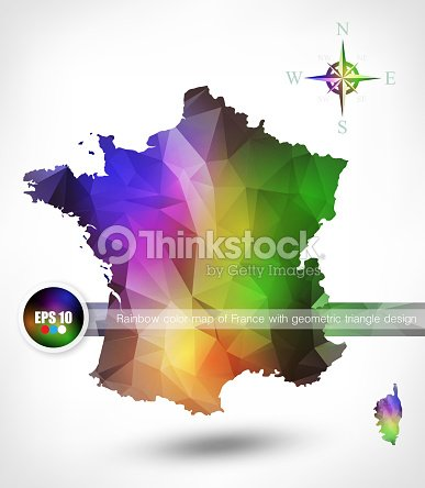 Rainbow color map of france with geometric triangle design vector rainbow color map of france with geometric triangle design vector art gumiabroncs Image collections