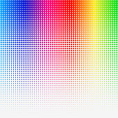 Rainbow colored Halftone abstract Template. Vector Illustration