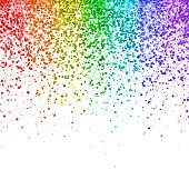 Rainbow falling glitter on white background. Vector illustration