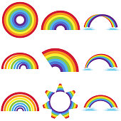 Rainbow icon, set of rainbow. Flat design, vector illustration, vector.