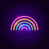Rainbow Neon Sign. Vector Illustration of Fashion Promotion.
