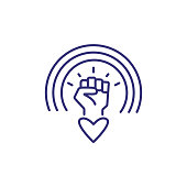 Rainbow over clenched fist and heart line icon. LGBT community, lgbt support, sexual discrimination. LGBT concept. Vector can be used for topics like relationships, tolerance, social issues