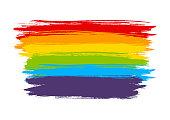 Rainbow strokes on white