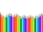 Rainbow seamless row of color drawing pencils vector illustration. Color pencil sharp stationery