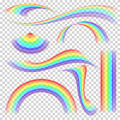 Rainbow Set Vector. Different Shape Collection. Realistic Rainbow Set Isolated Transparent Background.