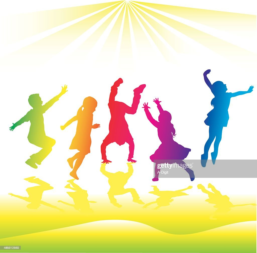 Rainbow Silhouette High Energy Kids Vector Art | Getty Images